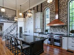 Exposed Brick Kitchen Kitchen Seamless Kitchen With Gray Cabinets And Exposed Brick