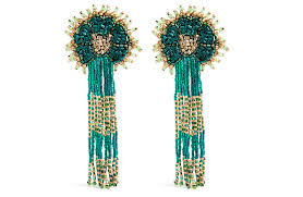 olivia dar hand beaded green shoulder duster earrings with sequin embellishments at sauce