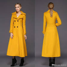 2018 fashion yellow womens long winter coats for women slim fit wool blend las jacket warm parka double ted long sleeves overcoat from