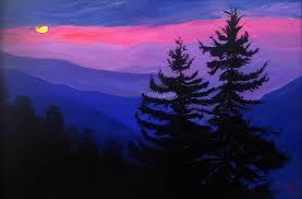 blue mountains silhouette original painting