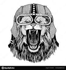 Lion Motorka Motorkář Letec Fly Klub Ilustrace Pro Tetování