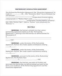 Partnership Dissolution Agreement Free Template - Kristalleeromances.com