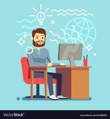 Vector Image Designer Young Designer Man Working At Computer