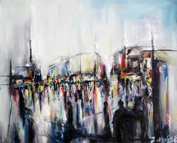 city square on a rainy evening oil on canvas zlatko art paintings