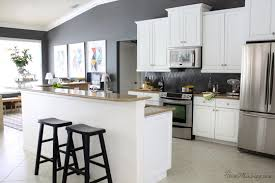 grey kitchen walls with white cabinets