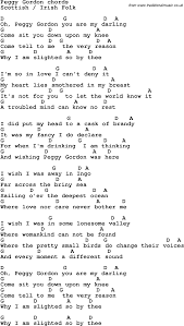 Song lyrics with guitar chords for Peggy Gordon
