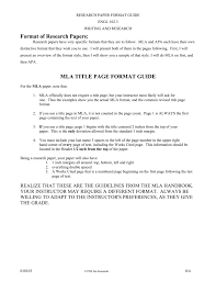 Format Of Research Papers Mla Title Page Format