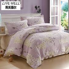 LIVE WELL Purple Flower King Size Soft Bedclothes Tow Pillow Case ... & LIVE WELL Purple Flower King Size Soft Bedclothes Tow Pillow Case 100% Cotton  Quilts Bedding Adamdwight.com