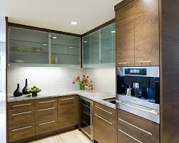 glass building kitchen cabinets. inspiration for a contemporary kitchen remodel in minneapolis with granite countertops glass building cabinets