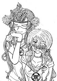 One Piece Anime Girls On Mardi Gras Costume Coloring Page Download
