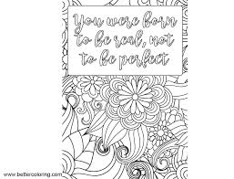 Growth Mindset Quotes Coloring Pages You Are Born To Be Real Free