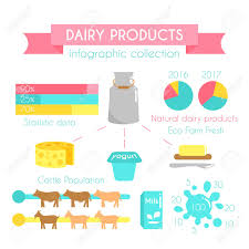 Dairy Chart Dairy Products Vector Infographic Milk Industry Concept Flat