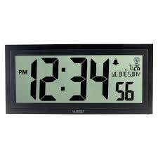 lcd digital wall clock la technology inch textured atomic digital wall clock chaney 135 in jumbo