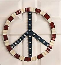 Holiday Peace Sign Decorations USA Red White and Blue 6060 Metal PEACE SIGN Wall Decoration 2