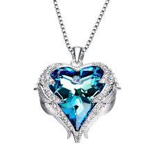 whole factory cde female ocean heart with swarovski elements heart shaped crystal necklace for women s sweater chain heart pendants necklaces