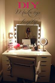 vanity table with lighted mirror with cool chair and white wall for cozy home decoration ideas
