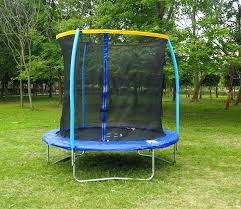 8 foot trampoline with enclosure jump power in ground