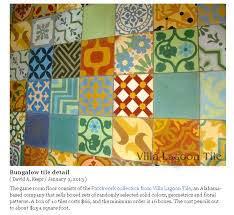 patchwork tile under pool talbe at the bungalow in calif