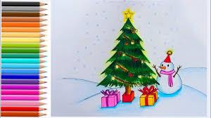 วาดภาพวันคริสต์มาส สีไม้ How to draw Merry Christmas #2 - YouTube