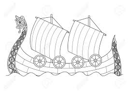 hand drawn viking ship for coloring book page for both and kids vector ilration