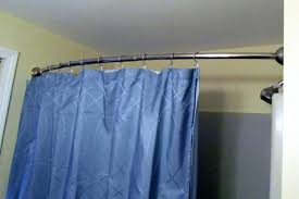 blue shower curtains with dark curved shower curtain curved tension shower curtain rod bronze shower design
