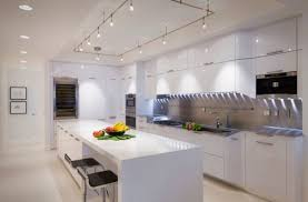 island lighting kitchen contemporary interior. Designs Ideas:White Modern Kitchen With White Cabinet And Island Under Rectangle Track Lighting Contemporary Interior N