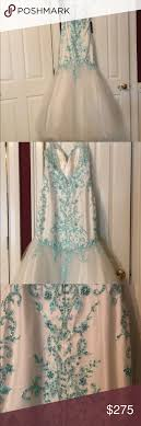 Gown Mac Duggal 48257 Slip Gown White Aqua Size 14 40 32 43