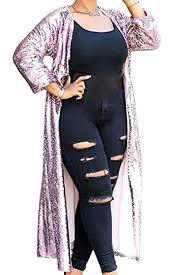 Women S Plus Size Measurement Chart Fseason Women Plus Size Sequin Glitter Full Length Duster