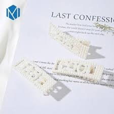 M MISM <b>New 1Pc Fashion</b> Imitation Pearl Letter Hair Clips BABE ...