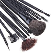12pcs brushes professional makeup sets cosmetic concealer kit with leather case free drop shipping in scissors