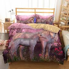 3d cherry blossoms unicorn mother and child pattern printed bedding sets all sizes pillow case quilt cover bed sheets duvet cover bedding queen bedding sets