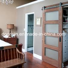 oak pine wood frosted glass barn door interior door sliding entry door for villa