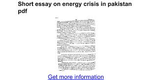 short essay on energy crisis in pdf google docs