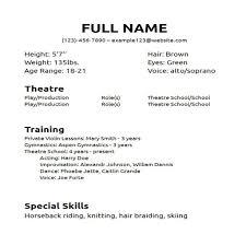 High School Theatre Resume Template Best of Excellent Actors Resume Format Child Actor Special Skills