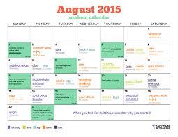 August 2015 Workout Calendar