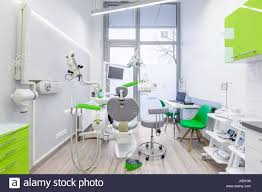 dental office interior. White, Dental Office Interior With Green Furniture And Modern Tools C