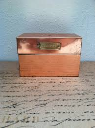 Decorative Recipe Box COPPER RECIPE BOX Decorative Kitchen Card Tin Recipe box Box 21