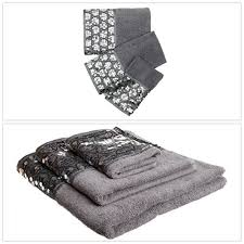 details about bath towels sinatra 3piece bathroom accessories pool hand wash towel set silver