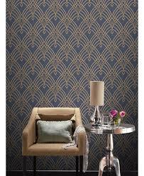 art deco blue and gold wallpaper