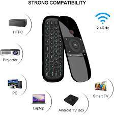 Buy Upgrade W1 Universal TV Remote Air Mouse, Wireless Keyboard Fly Mouse  2.4GHz Connection Air Remote Keyboard Mouse for Android TV Box/PC/Smart TV/Projector/HTPC/All-in-one  PC/TV Online in Indonesia. B07WRZNW6X