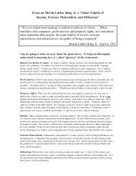 "student essay urban dreams essay on martin luther king jr s ""giant triplets of"