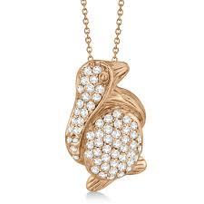pave diamond penguin pendant necklace 14k rose gold 0 61ct
