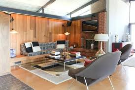 mid century modern living rooms orange color fabric lounge sofa white under luxury chandelier red metal