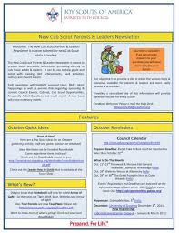 october newsletter ideas new den leaders