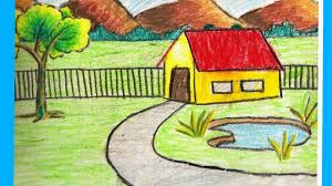 1280x720 village scenery drawing for kids cl 12 scenery drawing how to