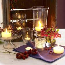 fall table decorations and tea light candle centerpieces