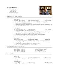 Ministry Resume Template Minister Resume Sample Resume Samples
