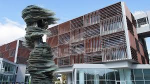 office facade. Custom Made Solar Shading Solution With Motorized Aluminium Louvers Office Facade