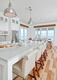 Contemporary cottage kitchen - in white color with huge island and bar  stools