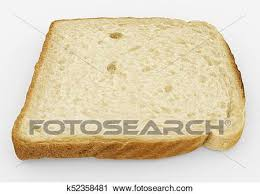 Bread Slice Single Toast Close Up Isolated On White Clip Art